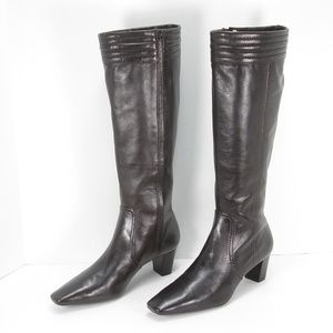 COLE HAAN BROWN LEATHER ZIP KNEE HIGH BOOTS 8.5 B